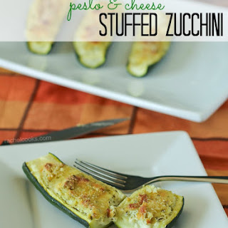 Pesto and Cheese Stuffed Zucchini