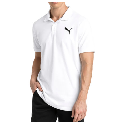 Puma Mens Road Map Polo, Bright White and Puma Black L