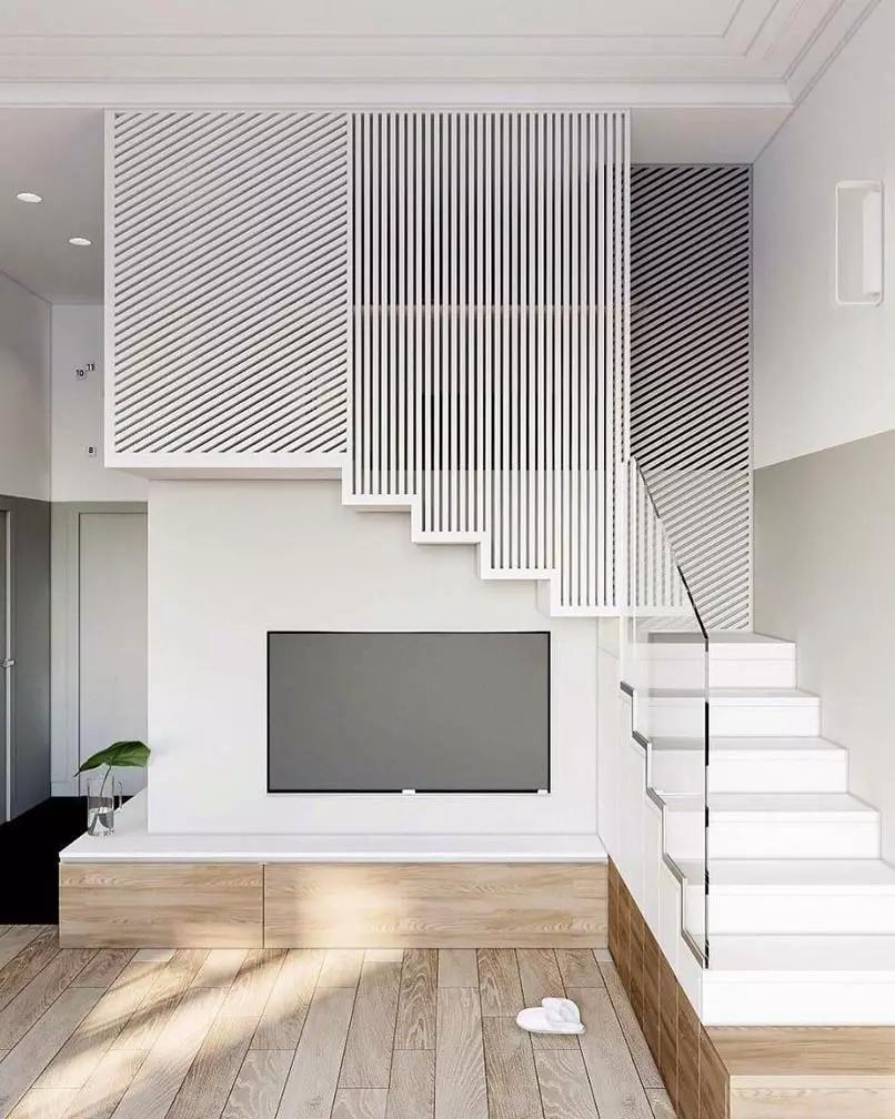 Vách ngăn phân chia phòng khách và cầu thang