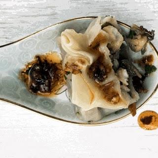 Eggplant, Mushroom And Fish Dumplings.