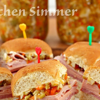 Muffuletta Sliders with Olive and Giardiniera Relish