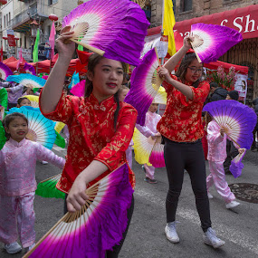 Dancing With Fans by Janet Marsh - Babies & Children Children Candids ( girl, fans, chinatown,  )
