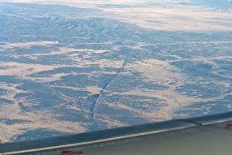 Photo: Strange very thin rock ridges somewhere between Flagstaff and Gallup.
