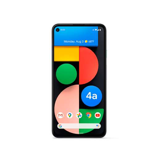 Front-facing shot of Pixel 4a with 5G