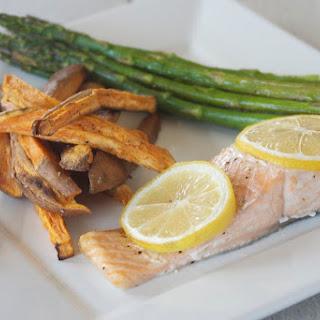 One Pan Salmon, Asparagus and Sweet Potatoes