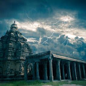At the End by Prithiviraj Kiridarane - Digital Art Places ( temple, digital art, graphics, place, rain )
