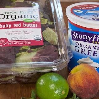 Simple Peach Salad with Mint Lime Yogurt Dressing Recipe