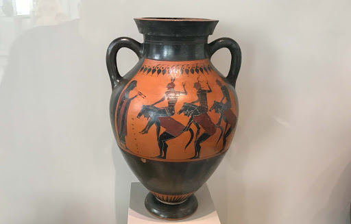 Neck Amphora: Equestrian Chorus, pottery that dates to 530-540 B.C. at the Altes Museum in Berlin.