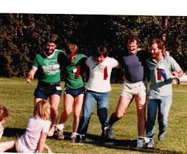 Photo: 1983 MTS Workshop, University of Alberta (UQV), Edmonton, Alberta, Canada - 10-legged race - (l to r) Steve Burling, Ray Davison, Steve Peterson, Wolfgang Richter, and Jim Bodwin.