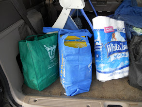 Photo: 2 full reusable grocery sacks plus the TP. Before coupons $52.12, after coupons $28.32