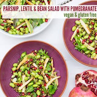 Parsnip, Lentil & Bean Salad with Pomegranate [vegan] [gluten free].
