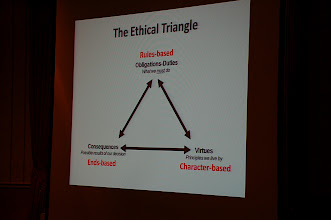 "Photo: ""The Ethical Triangle"" presented as part of Maj. Shing Tai Leung's paper ""The Ethics of Disobedience."""