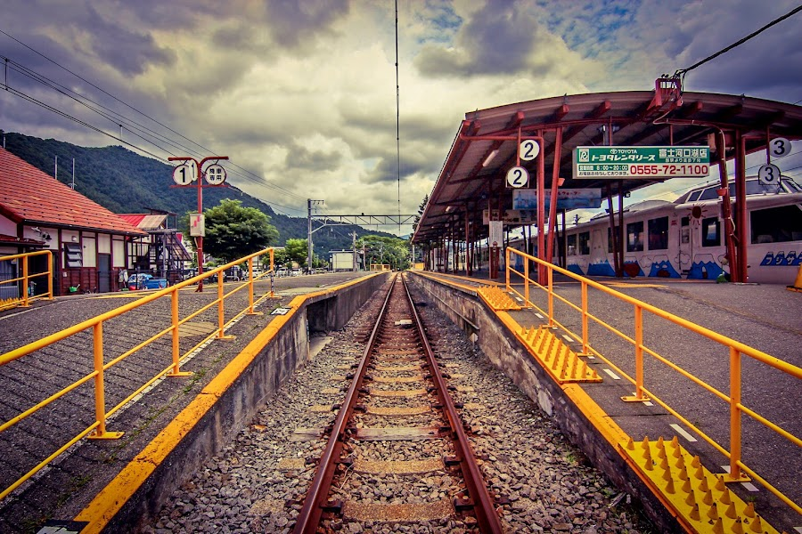 Kawaguciko eki by Alfa Proyostytyo Septianda Harsono - Transportation Railway Tracks