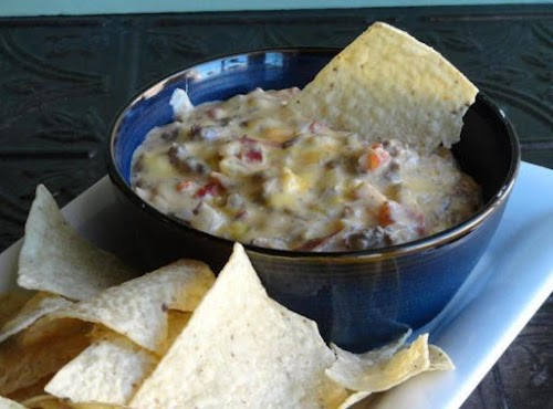 """Bacon Cheeseburger Queso Dip """"I made this for a party this past..."""