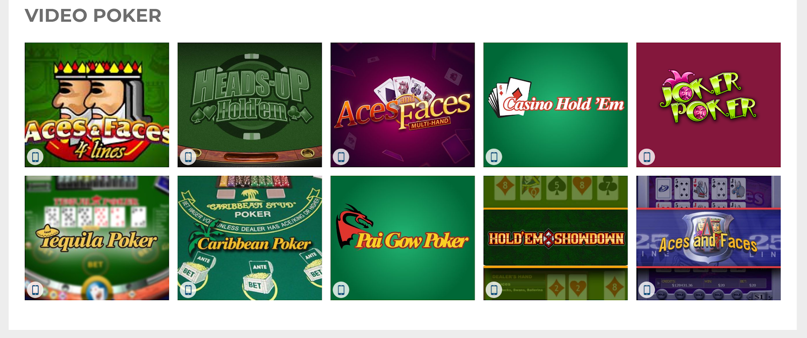 You can play plenty of great poker games at The Sun Vegas Casino