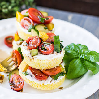 Cornbread Cakes with Balsamic Tomato Salad