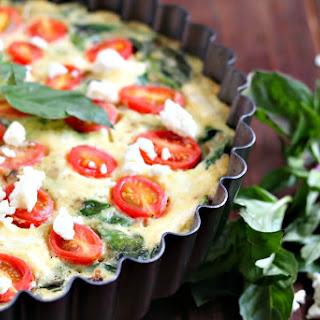 Spinach, Tomato and Feta Crustless Quiche