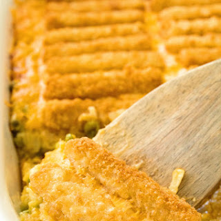 Cheesy Fish Stick Hash Brown Casserole.