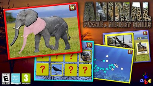 孩子們動物拼圖和記憶