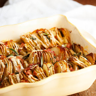 Spiralized Hasselback Potato Gratin