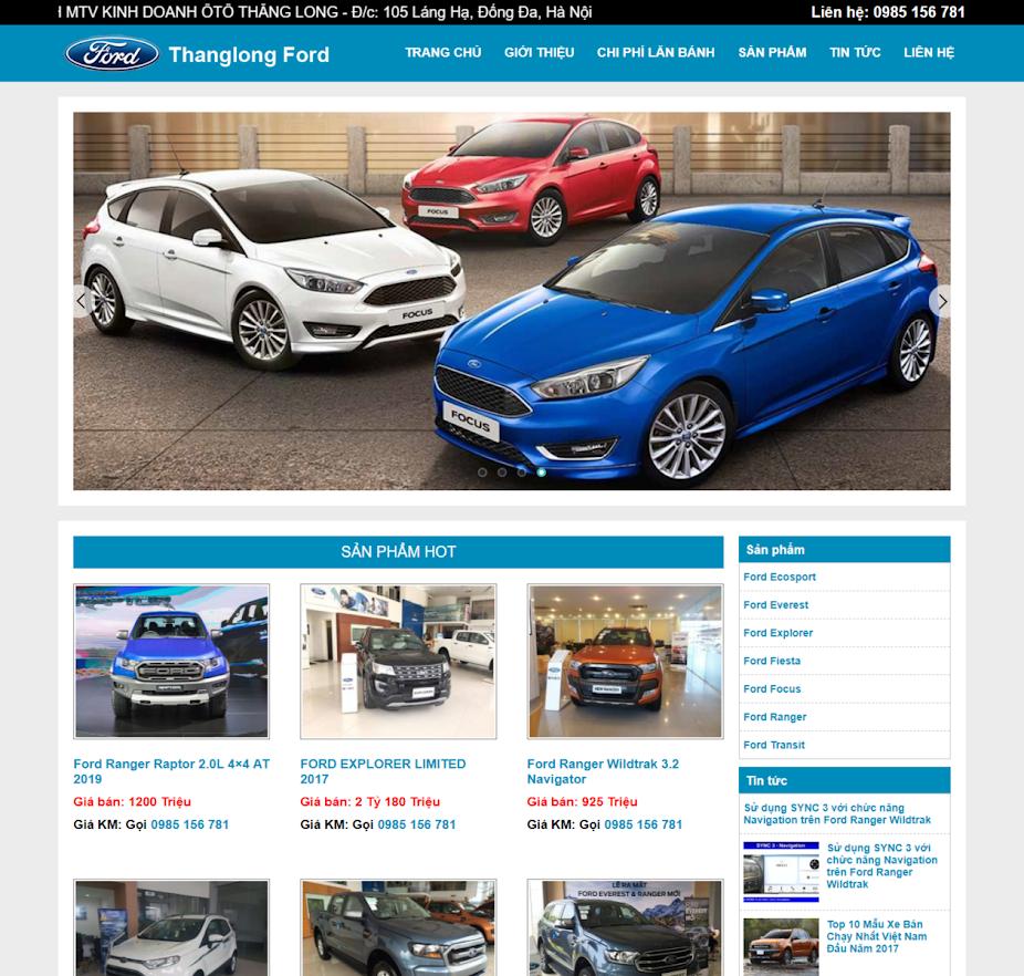Mẫu web bán xe ô tô Ford thumbnail