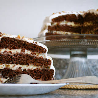 Chocolate Hazelnut Cake with Seven Minute Frosting.
