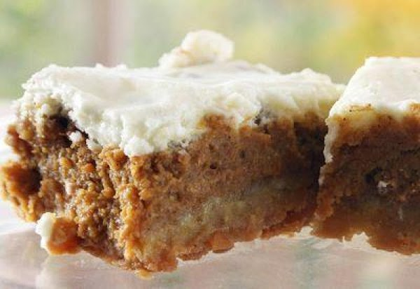 Pumpkin Bars With Cream Cheese Topping Recipe