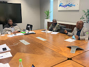 Cogta committee chair Faith Muthambi, MP Gcinikhaya Mpumza and Bakwena ba Morare Traditional Council leader Kgosi Godfrey Gasebone during a meeting on Wednesday.