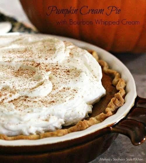 "Pumpkin Cream Pie with Bourbon Whipped Cream ""This pumpkin cream pie has..."