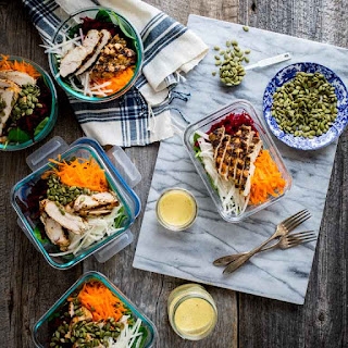 Meal Prep Spinach Beet and Chicken Power Salads Recipe