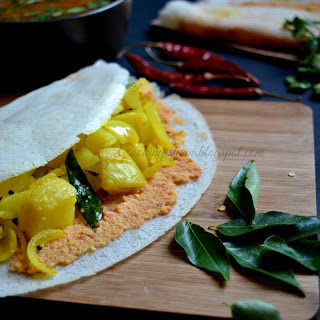 Soft Masala Dosa with Red Chutney Recipe