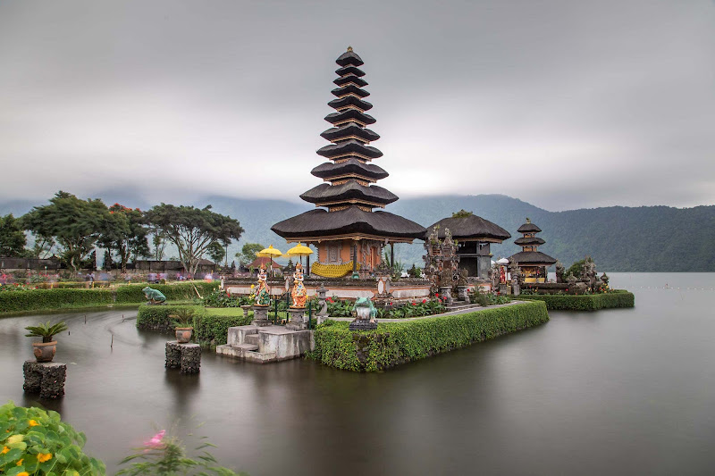 Part of the Pura Bratan Water Temple complex, built in 1663 at the edge of Lake Bratan in Bali, Indonesia.
