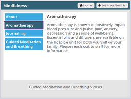 Aromatherapy screen in GetWell Inpatient