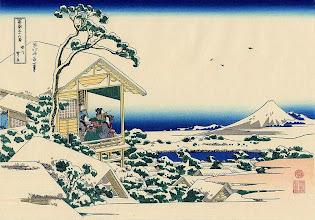 """Photo: Katsushika Hokusai, """"Casa del tè a Koishikawa il mattino dopo una nevicata"""""""