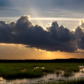 Sunburst  by Carlos Holt - Landscapes Prairies, Meadows & Fields ( clouds, water, sunburst, jekyll, sunset )