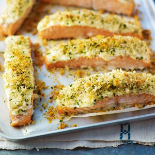 Baked Salmon With Parmesan And Parsley Crust.