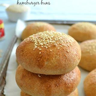 Homemade Whole-Wheat Hamburger Buns.
