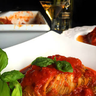 Vegan Cabbage Rolls Stuffed with Grilled Eggplant, Mushrooms & Spinach.