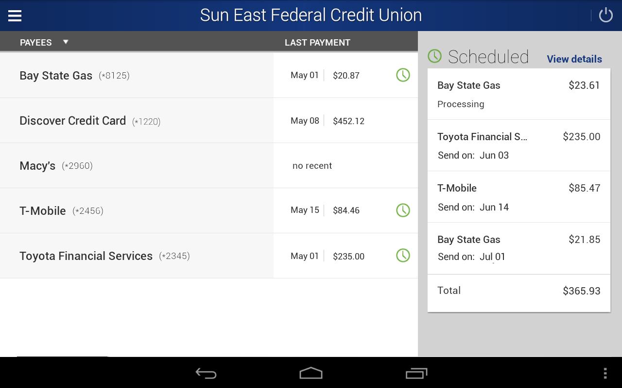 Sun East Federal Credit Union- screenshot