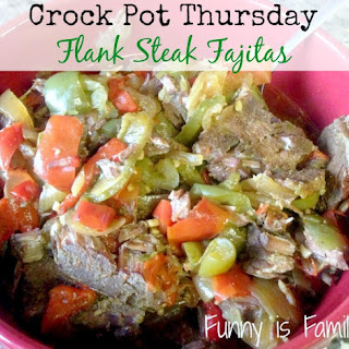 Crock Pot Flank Steak Fajitas.