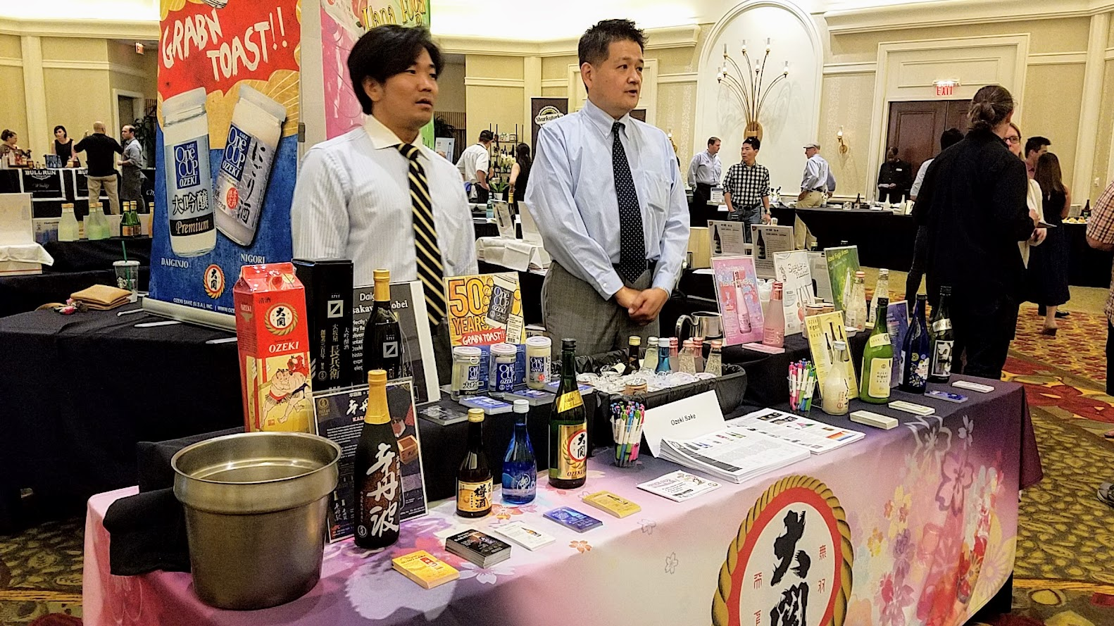 Sake Fest 2016 table of one of the sake distributors. A ticket to Saké Fest PDX experience is full access to all food and all saké sampling stations