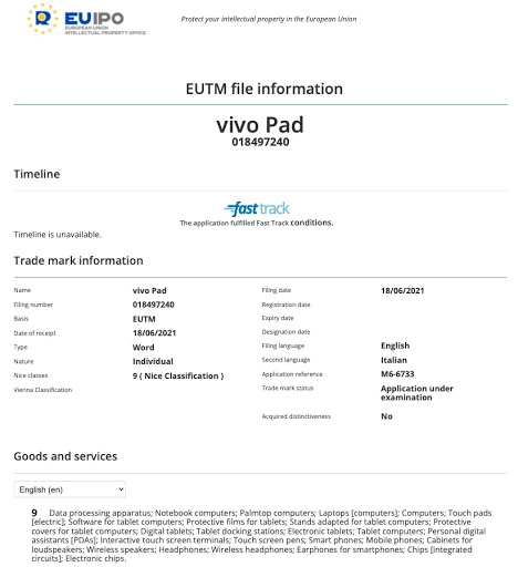 Vivo Registers Vivo Pad Name on EUIPO Trademark, Could be for Upcoming Tablet From the Company