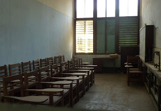 Photo: A classroom covered in dust..