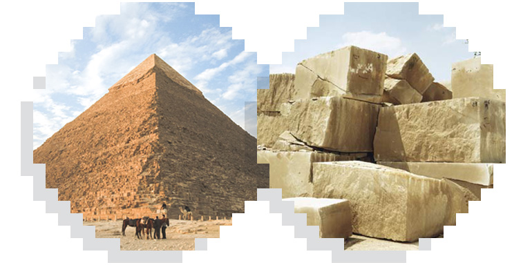 Left: pyramid, right: limestone blocks