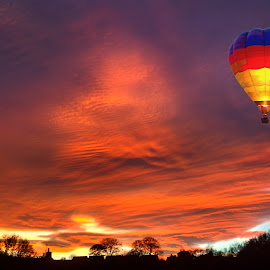 Balloon Flight by Rob Palmer - Transportation Other ( flight, hot air balloon, color, sunset, evening,  )