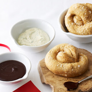 Whole Wheat Soft Pretzels with Two Dipping Sauces.