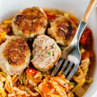 Zucchini Turkey Meatballs with Zoodles.