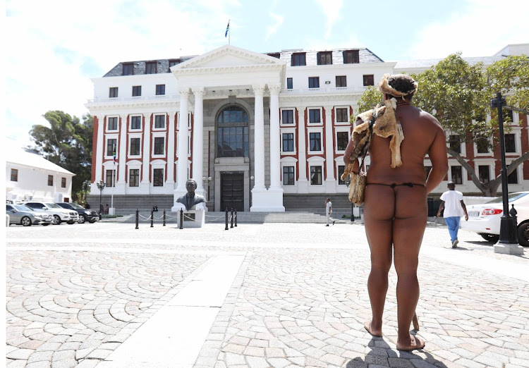 Chief Khoisan SA arrives to discuss the traditional and Khoisan leadership and governance bill in parliament on Tuesday.