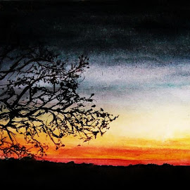 by Samriddhi Dutta - Drawing All Drawing ( art, watercolour, painting, sunset )