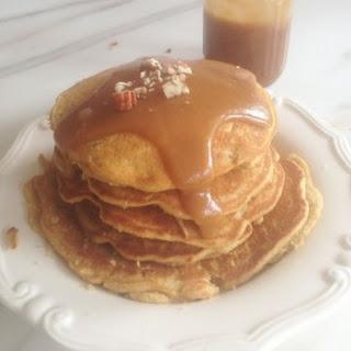 Cornbread Pecan Pancakes with Homemade Caramel Sauce